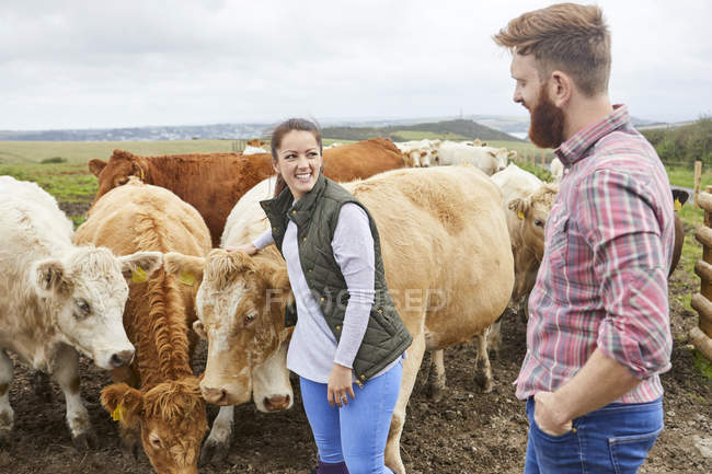 Junges Paar auf Kuhfarm — Stockfoto