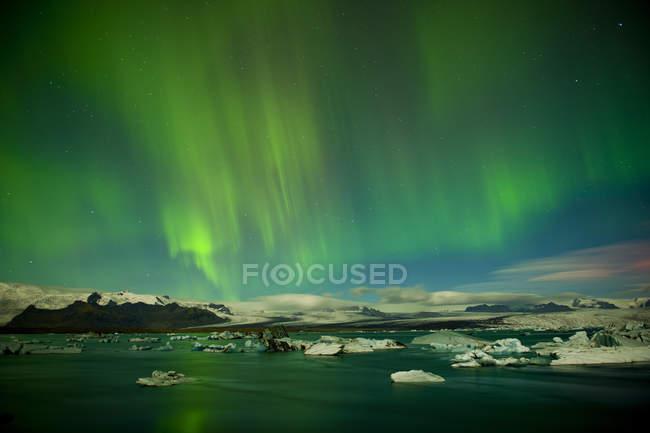 Nordlicht über South Island Jökulsá Loni, Skaftafell, — Stockfoto