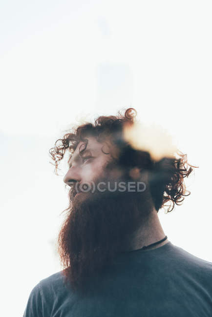 Low angle lens flare portrait of bearded hipster — Stock Photo