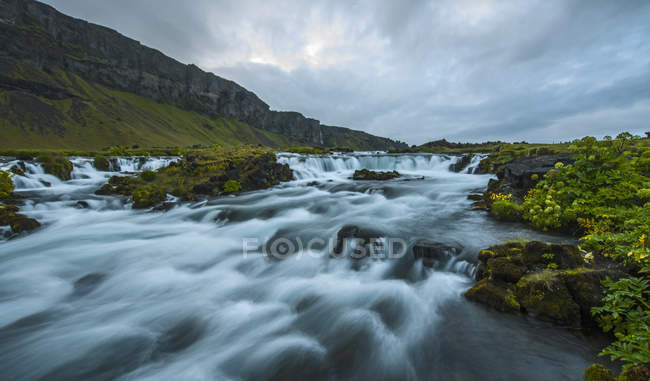 Scenic view of Rapids of the river Fossar, Iceland — Stock Photo