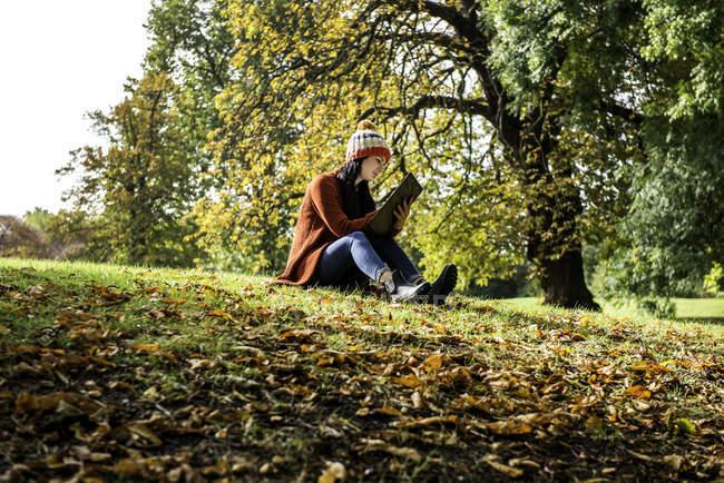 Junge Frau sitzt auf dem Rasen im Park, Studium, niedrigen Winkel Ansicht — Stockfoto