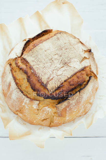Top view of artisan sourdough bread — Stock Photo