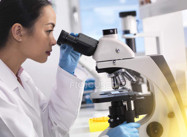 Scientist viewing a glass slide containing a human sample for medical testing — Stock Photo