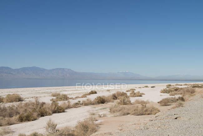 Пейзажний вид на березі моря Солтона під зніміть Синє небо — стокове фото