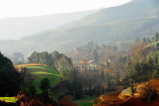Misty rural scene, Yunnan, China. — Stock Photo