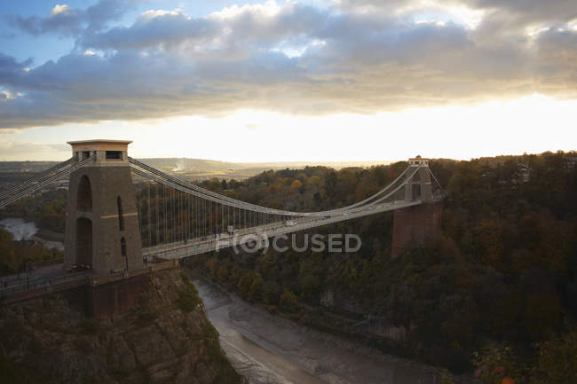 Elevated view of clifton suspension bridge — Stock Photo