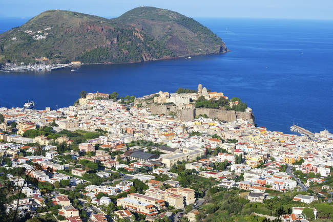 High angle view of buildings and coastline at lipari island, italy — Stock Photo