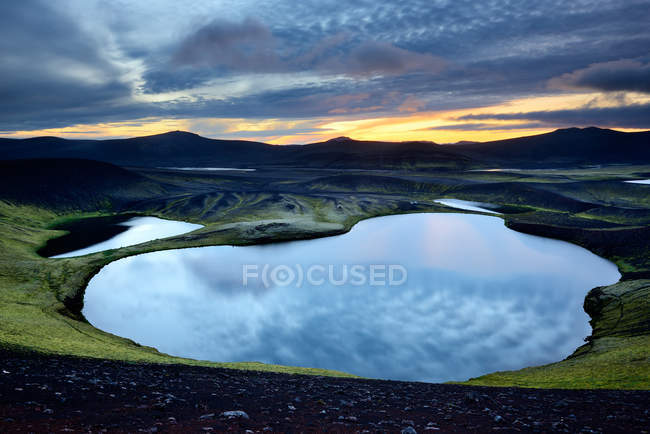 Vista panorâmica do Lago Veidivotn, Highlands da Islândia — Fotografia de Stock