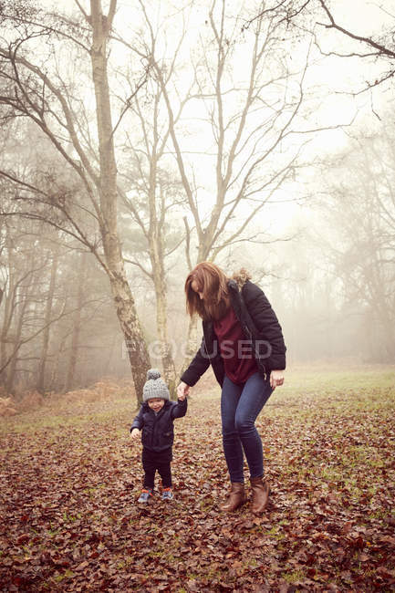 Мальчик держит мать за руку в лесу — стоковое фото