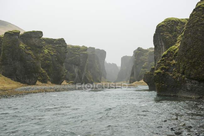 View of river and canyons at Fjadrargljufur, Iceland — Stock Photo