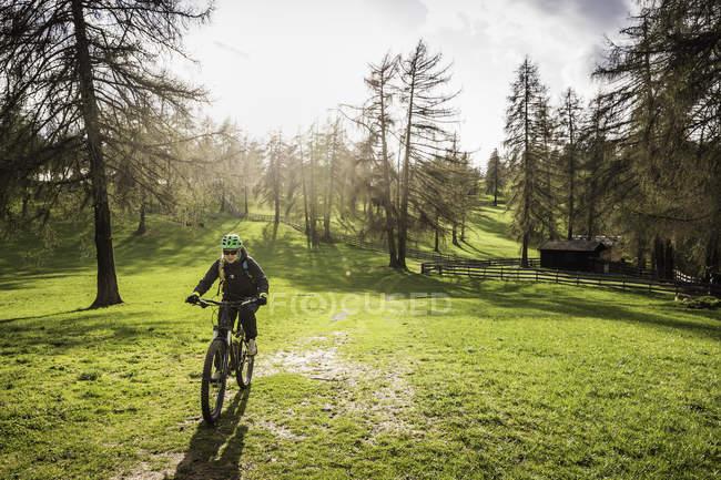 Woman mountain biking, Jenesien, South Tyrol, Italy — Stock Photo