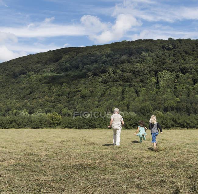 Rückansicht Großmutter mit Enkeln beim Joggen über Feld — Stockfoto