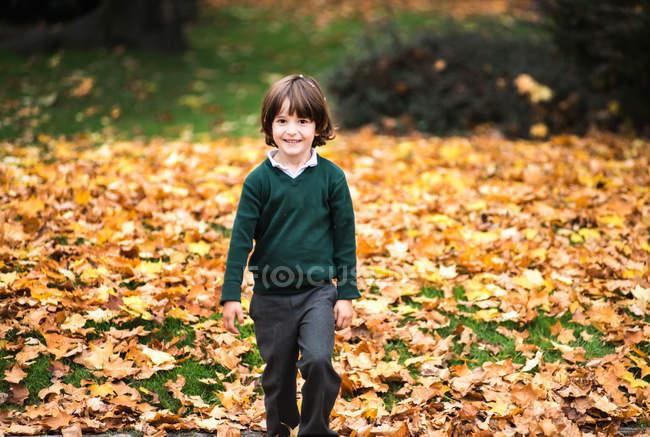 Niño en el parque en otoño mirando a la cámara sonriendo - foto de stock