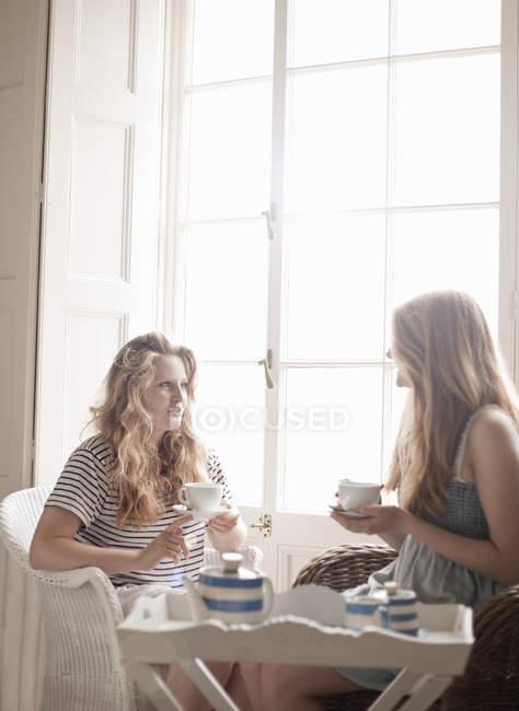 Двоє підлітків сестри насолоджуючись післяобідній чай — стокове фото