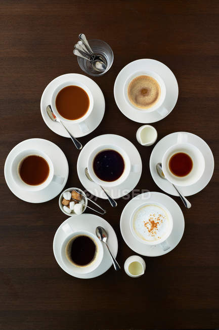 Selection of coffees in cups — Stock Photo