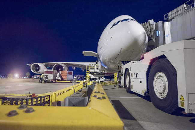 Night over A380 aircraft on stand at airport — Stock Photo