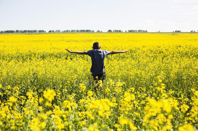 Мальчик на поле рапса, деревня Sarsy, Свердловская область, Россия — стоковое фото