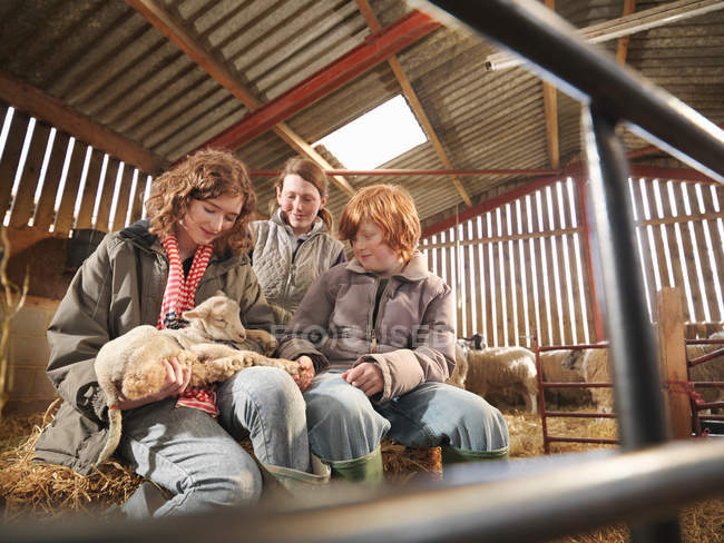 Agriculteur et enfants avec agneaux dans Grange — Photo de stock