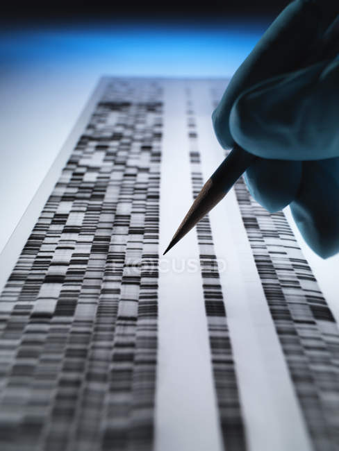 Scientist viewing DNA gel used in genetics, forensic, pharma research, biotechnology and biomedical science — Stock Photo