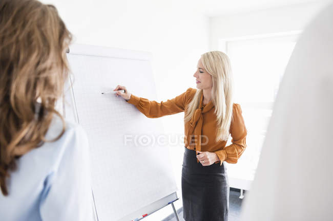 Businesswoman writing on flipchart in office with colleagues — Stock Photo