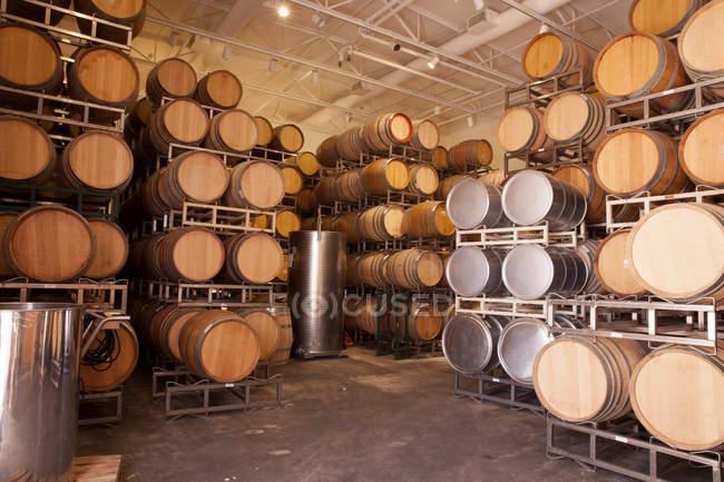 Barris de vinho de madeira em vinha — Fotografia de Stock