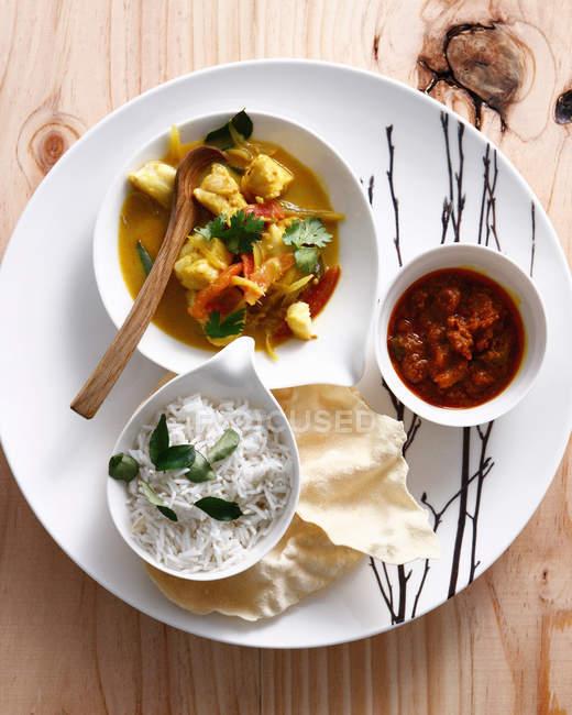 Curry de poulet au riz — Photo de stock