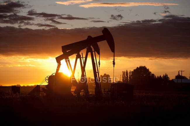 Oil wells at sunset — Stock Photo