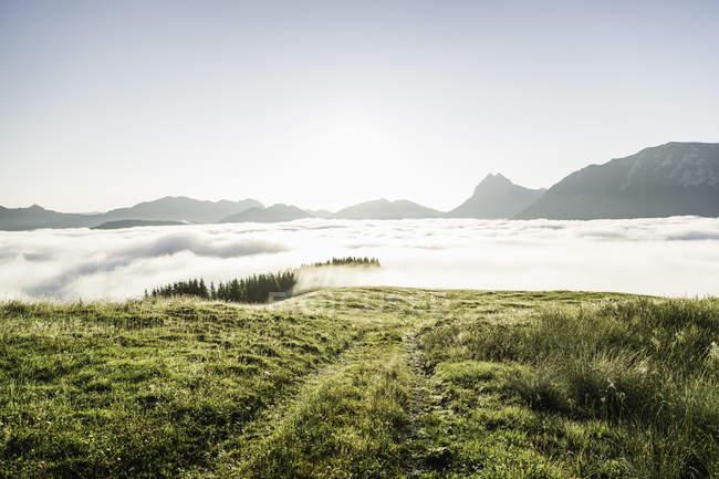 Vista panorámica del mar de niebla, Tirol, Austria - foto de stock