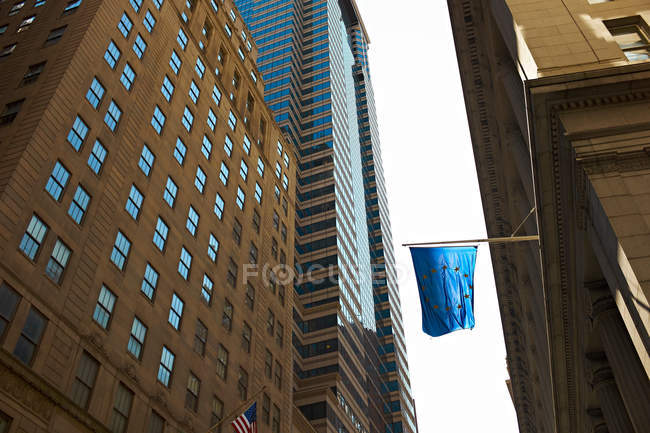 Bottom view of Office buildings, New York City, USA — Stock Photo