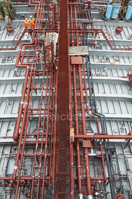 Pipework on gasoline tanker, south Korean shipyard — Stock Photo