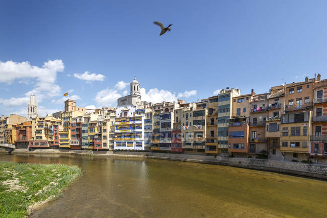 Cathedral and Sant Felix church behind skyline of Girona Town — Stock Photo