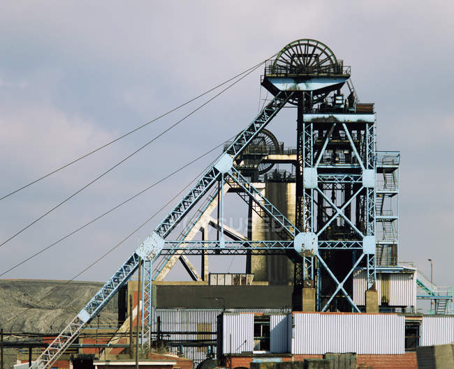 Distant view of Coal mine, metal construction — Stock Photo