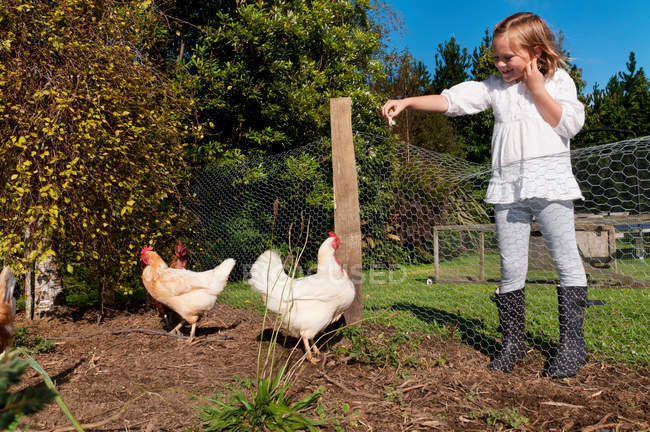 Ragazza che alimenta i polli in cortile — Foto stock