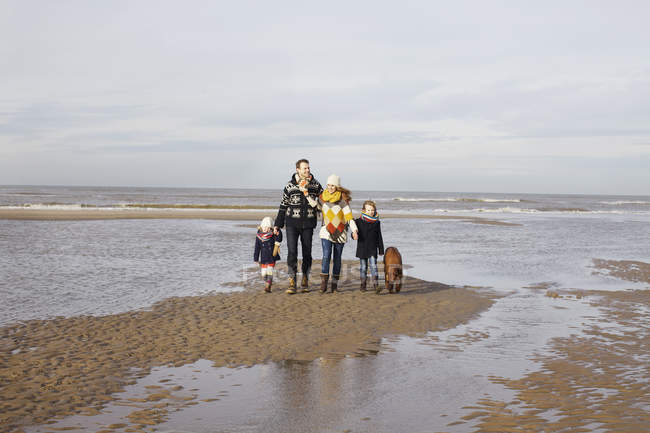 Mid adult parents with son, daughter and dog strolling on beach, Bloemendaal aan Zee, Netherlands — Stock Photo