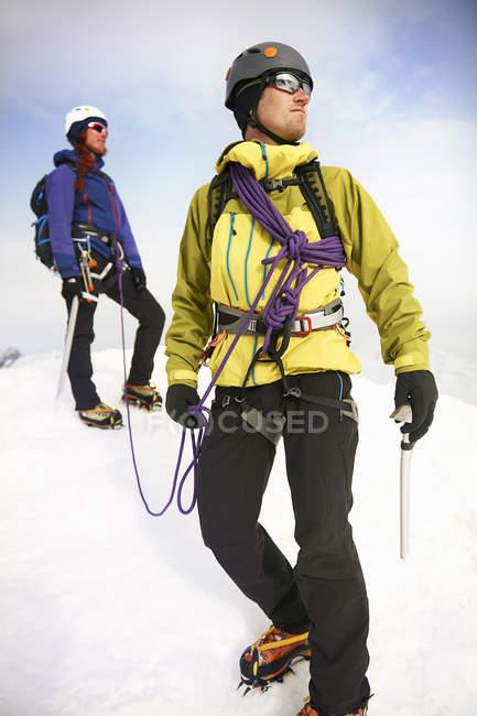 Montañeros en paisaje nevado mirando lejos - foto de stock