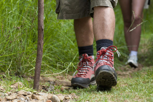 Hikers legs and walking stick — Stock Photo