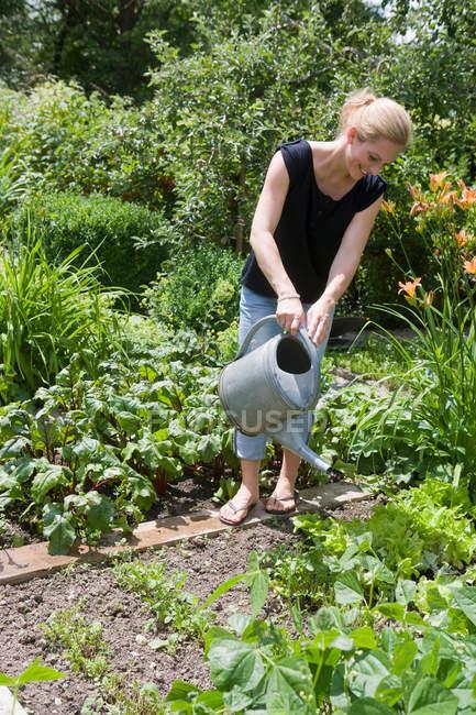 Woman watering plants in backyard — Stock Photo