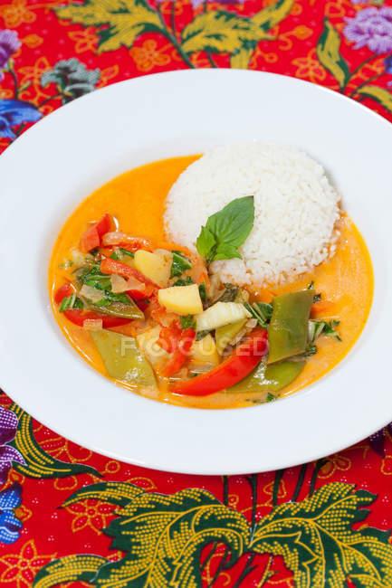 Teller mit rotem Curry und Reis auf bunter Tischdecke — Stockfoto