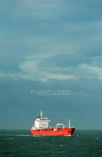 Distant view of Ship sailing in Rotterdam harbor — Stock Photo