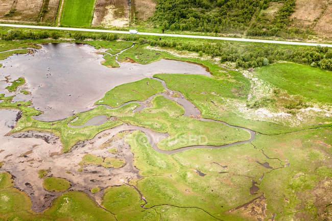 Аэрофотоснимок сельских озера и ручьи — стоковое фото