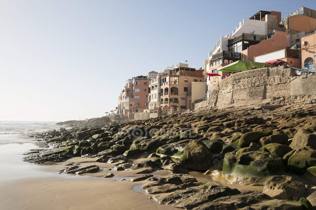 View of beach and coast, Taghazout, Morocco — Stock Photo