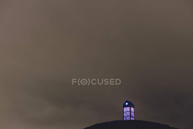 Thurfa art installation illuminated purple at night, Reykjavik, Iceland — Stock Photo