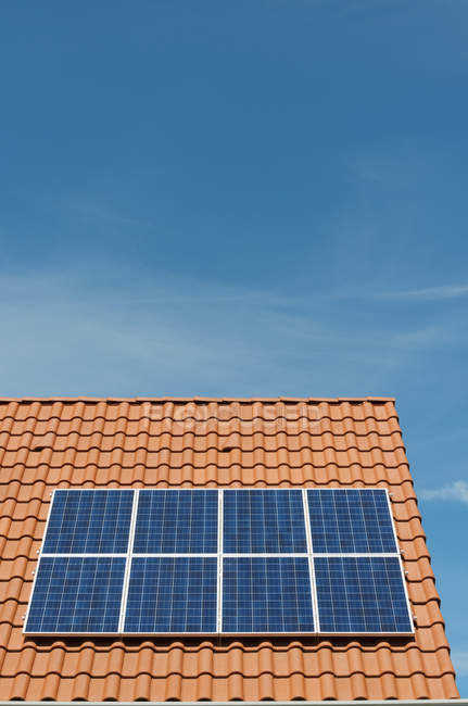 Newly installed solar panels on roof of new home, Netherlands — Stock Photo