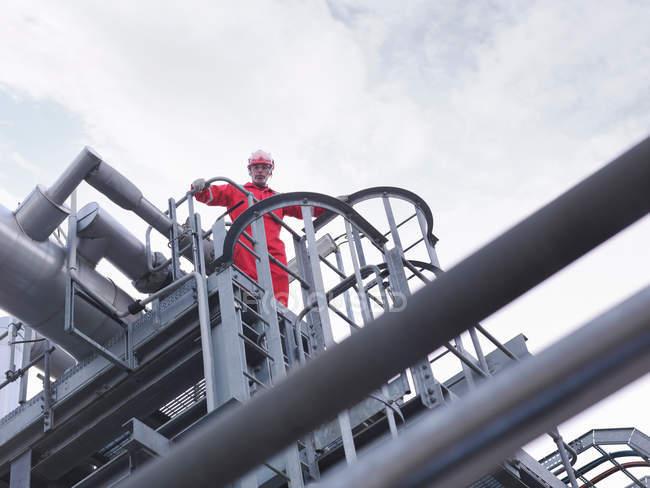 Worker on underground gas storage plant — Stock Photo