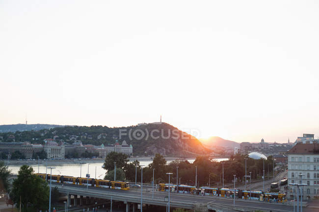View of  Budapest at dawn — Stock Photo