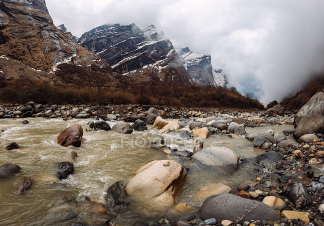 Zona campo base Machapuchare, trek Abc, Annapurna Base Camp trek, Nepal — Foto stock