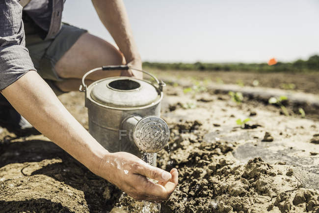 Cropped view of man in muddy field pouring water from watering can — Stock Photo
