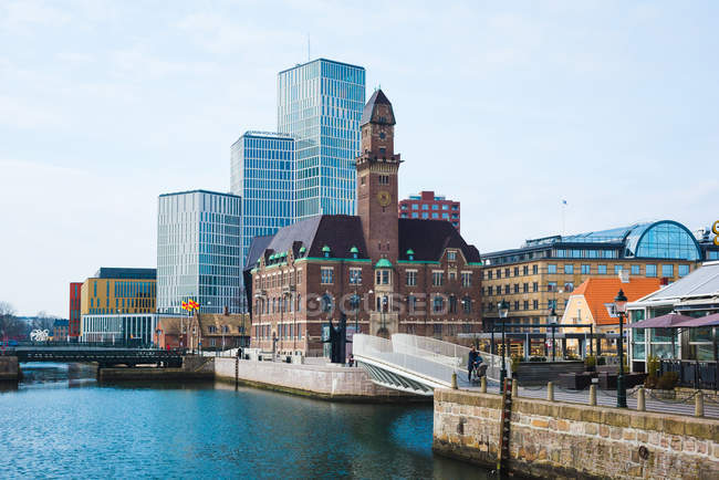 Clocktower і office блоків на набережній, Мальме, Швеція — стокове фото