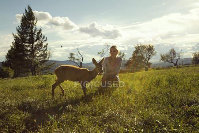Jeune femme dans le champ avec faon — Photo de stock
