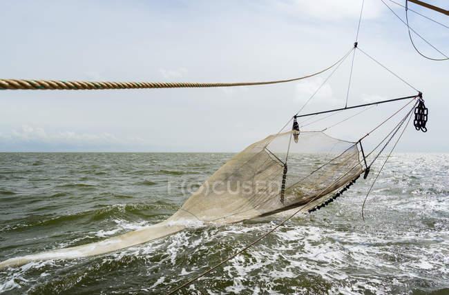 Reti da pesca con sciabiche di pescherecci oceanici, Waddenzee, Frisia, Paesi Bassi — Foto stock